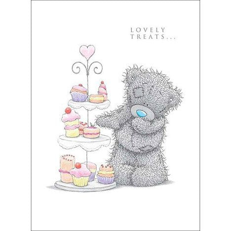Me to You Tatty Teddy Greetings Card - By Cake Stand - 'Lovely Treats' - hanrattycraftsgifts.co.uk