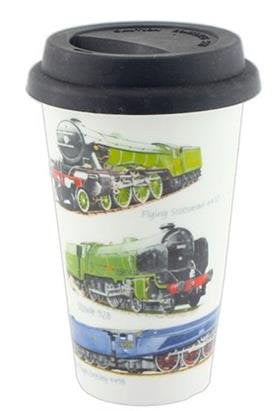 Mens Classic Trains Design Travel Mug with Silicone Lid - hanrattycraftsgifts.co.uk