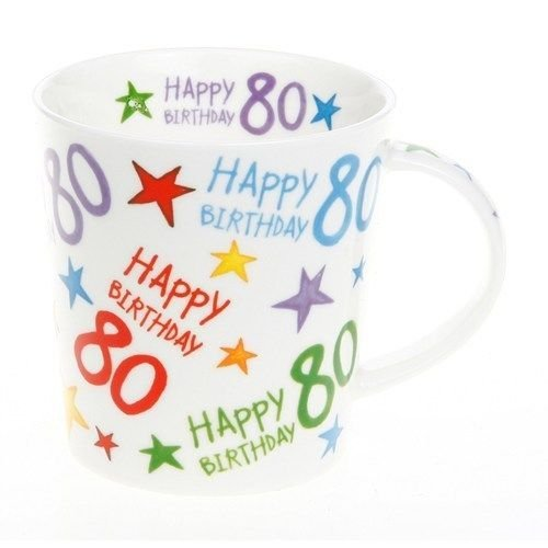 Starburst 80 80th Birthday Fine China Mug in Gift Box - hanrattycraftsgifts.co.uk