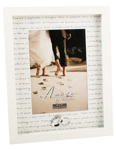 "Amore Wedding Gift Photo Frame Crystal Rings Picture 5""x7"" Free Standing - hanrattycraftsgifts.co.uk"