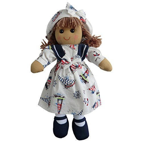 nautical girl rag doll with hat 40cm - hanrattycraftsgifts.co.uk