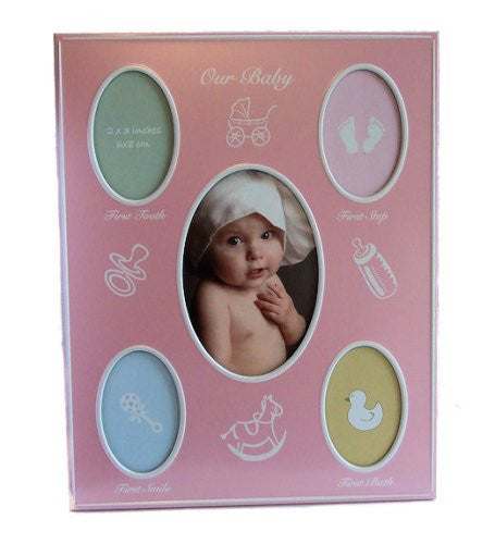 Pink Baby Girl Photo Frame Record Babys First Holds 5 photos - hanrattycraftsgifts.co.uk