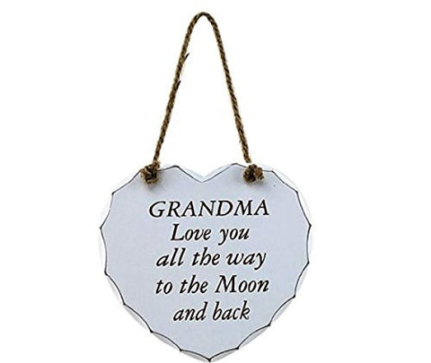 White Heart Sign: Grandma To The Moon and Back - hanrattycraftsgifts.co.uk