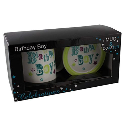Birthday Boy Blue & Green Ceramic Mug And Coaster Set In Gift Box - For Any Age - hanrattycraftsgifts.co.uk