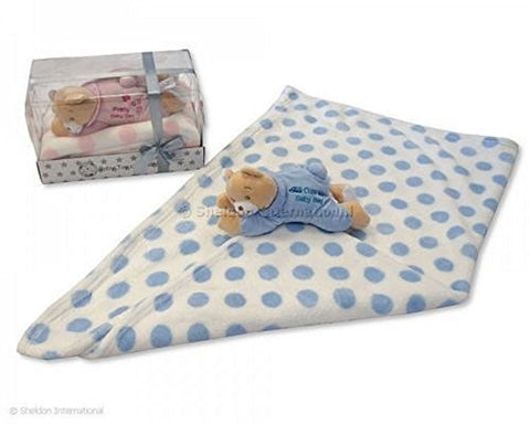 Coverage Baby with Teddy in Box Blue - GP-25-0717 - hanrattycraftsgifts.co.uk