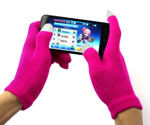 Designer Fashion Touch Glove / Smart Glove / Finger Glove / Screen Glove Winter Touch Screen Gloves / Capacitive Gloves For Capacitive Touch Screen Tablets and Smartphones (Light Pink) - hanrattycraftsgifts.co.uk