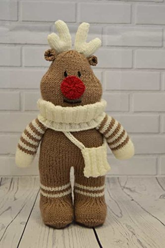 KNITTING PATTERN Festive Friends Reindeer Soft Toy From Knitting by Post - hanrattycraftsgifts.co.uk