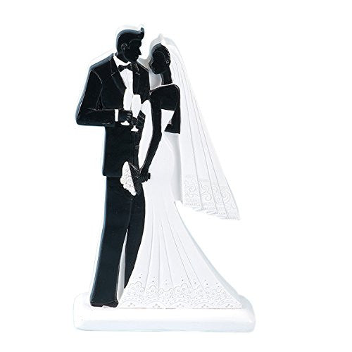 CLUB GREEN Resin 2D Black Bride and Groom Standing, Black, 100 x 40 x 180 mm