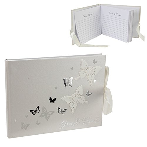 Fancy Classic Collection Juliana Wings of Love Butterfly Paperwrap Guest Book - hanrattycraftsgifts.co.uk
