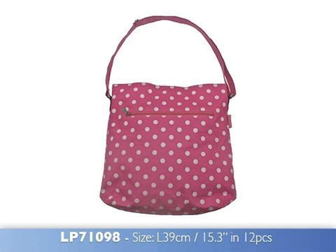 Dotty Vintage Cross Body Bag Pink made from Oilcloth - hanrattycraftsgifts.co.uk