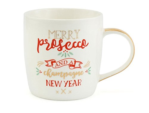 Merry Prosecco and A Champagne New Year - Christmas Mug - Great Secret Santa Gift - hanrattycraftsgifts.co.uk