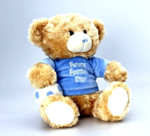 Gorgeous Plush Cuddly 25cm Teddy Bear Wearing Future Football Star Shirt And Carrying His Football - hanrattycraftsgifts.co.uk