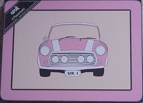 Pink mini cooper palce mats - hanrattycraftsgifts.co.uk