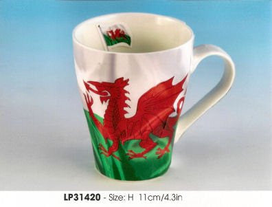 Welsh Flag Bone China Latte Mug by Leonardo - hanrattycraftsgifts.co.uk