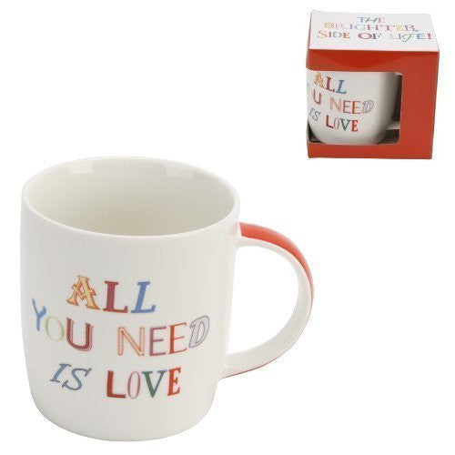 "The Brighter Side Of Life Boxed Mug - ""All You Need Is Love"" design - hanrattycraftsgifts.co.uk"