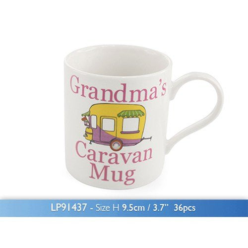 The Leonardo Collection Grandma's Caravan Novelty Gift Boxed Mug, White - hanrattycraftsgifts.co.uk