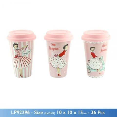 Leonardo Mrs Smith Pink Retro Travel Mug Double Wall Insulation with a Silicon Lid - hanrattycraftsgifts.co.uk