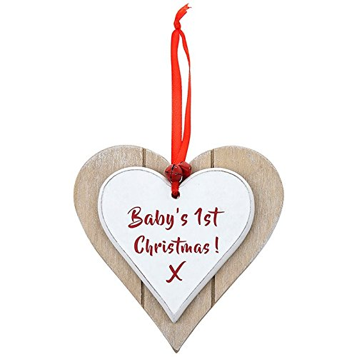 Vintage Style Baby's First Christmas Heart Shaped Wooden Plaque Gift - hanrattycraftsgifts.co.uk