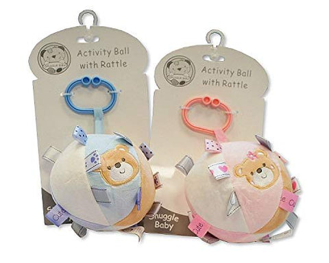 Baby soft activity Toy Ball with Rattle. A Gift for baby shower. Blue or Pink - hanrattycraftsgifts.co.uk