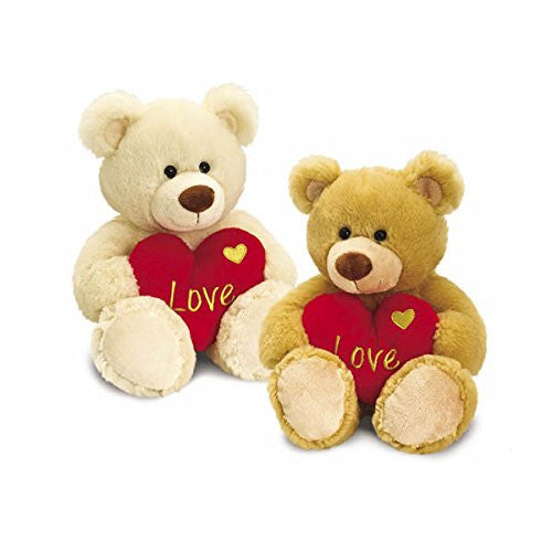 Gorgeous 25cm Soft Plush Bear Holding A Red Love Heart - hanrattycraftsgifts.co.uk