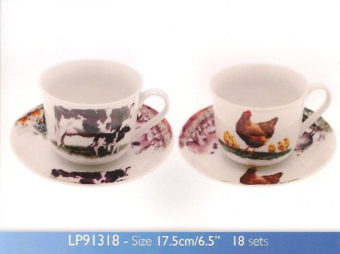 Macneil Studios Farmyard China Cup & Saucer in Picture Gift Box Cow Horse & Foal Hen Sheep - hanrattycraftsgifts.co.uk