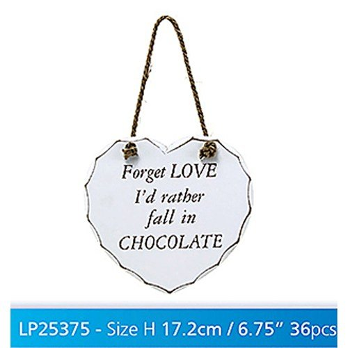 "White ""Forget Love, I'd rather fall in Chocolate"" Shabby Chic Hanging Plaque - hanrattycraftsgifts.co.uk"