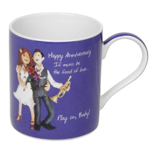 Happy Anniversary Mug - If music be the food of love play on Baby! - hanrattycraftsgifts.co.uk