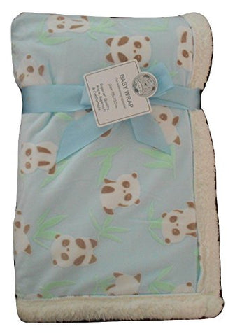Baby Boys Girls Beautiful Light Blue Panda Bear Fleece Lined Blanket