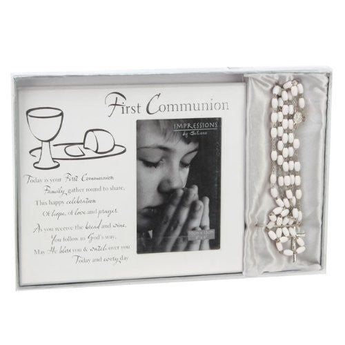First Communion Photo Frame & Rosary Beads
