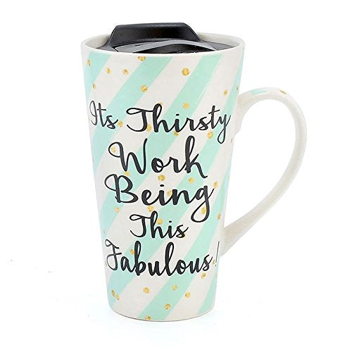 Wise Words Lidded Mug its thirsty work being this fabulous - hanrattycraftsgifts.co.uk