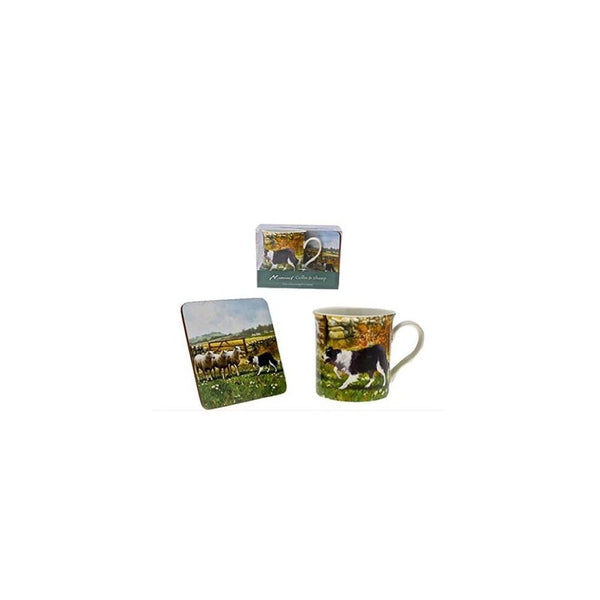 Macneil Collie Dog and Sheep Mug and Coaster Set - hanrattycraftsgifts.co.uk