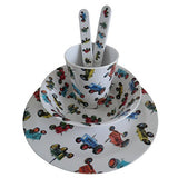 Childrens Melamine Dinner Set. Powell Craft Tractor Kids Gift Set - from Little PJs - hanrattycraftsgifts.co.uk