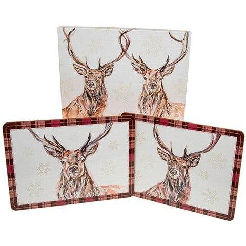 Winter Stag Print Placemats - Set of 4 Placemats - hanrattycraftsgifts.co.uk