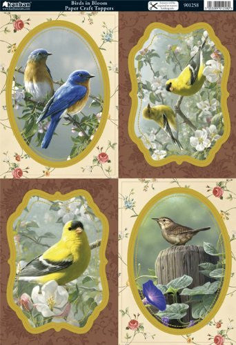 birds in bloom papercraft toppers - hanrattycraftsgifts.co.uk