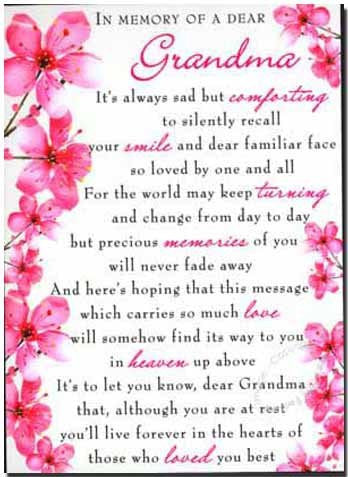 Grave Card - In Memory Of A Dear Grandma - Free Card Holder - M09