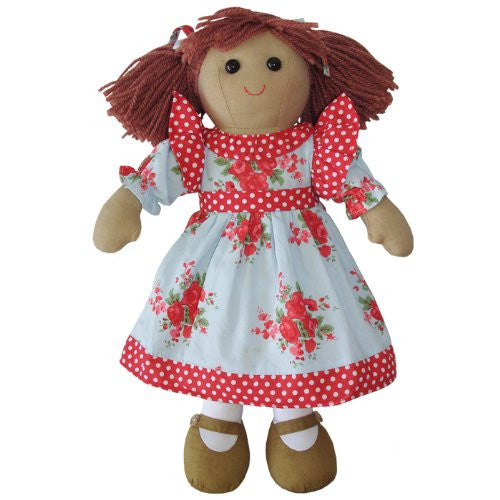 Powell Craft Rag Doll - Blue/Red Rose Dress - hanrattycraftsgifts.co.uk