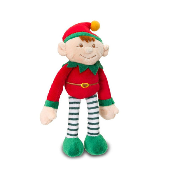 Red Christmas Dangly Elf Soft Toy With Stick Together Hands Can Sit On Shelf - hanrattycraftsgifts.co.uk