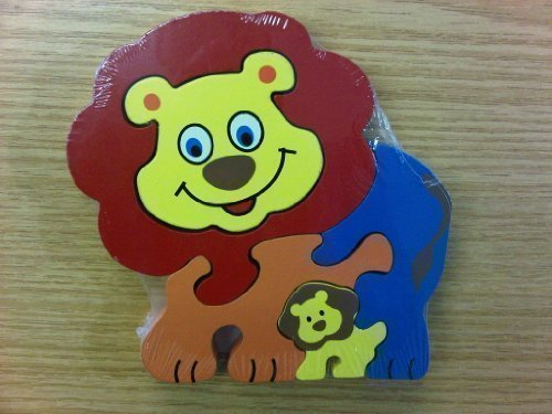 Childrens Kids Wooden Zoo Shape Puzzle Jigsaw Lion & Baby - hanrattycraftsgifts.co.uk
