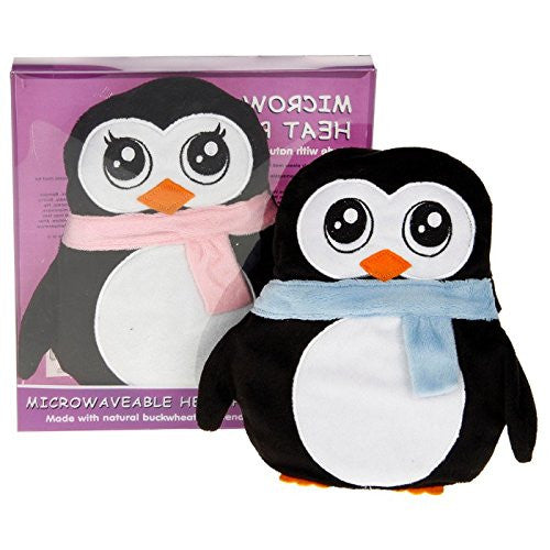 Wheaty Warmers Microwaveable Microwave Heat Pack - Penguin with Blue Scarf - hanrattycraftsgifts.co.uk