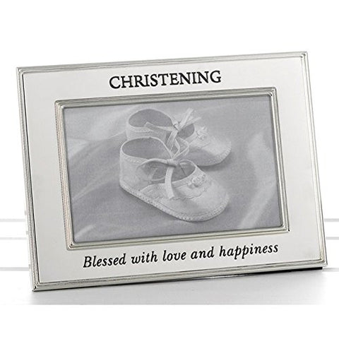 Christening - Polished Silver Message Band Photo Frame (74204) - hanrattycraftsgifts.co.uk