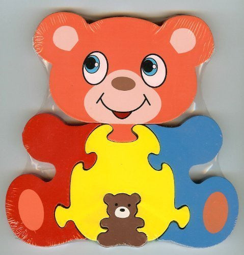 Traditional Wood'n'Fun: Baby/Toodler Wooden Colourful Bear & Cub Jigsaw/Puzzle - hanrattycraftsgifts.co.uk