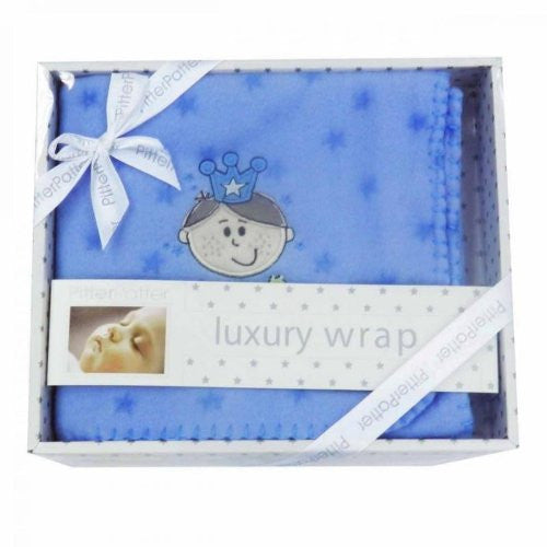 Little Prince Luxury Boxed Baby Wrap / Blanket Blue