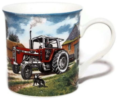 Massey Ferguson 595 Farm Tractor - Fine Art Watercolour China Gift Mug - hanrattycraftsgifts.co.uk