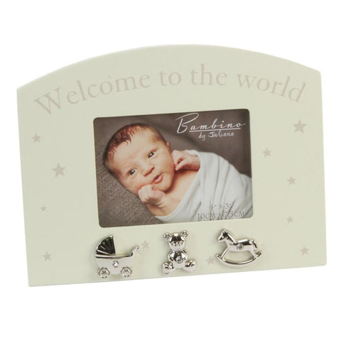 "Bambino By Juliana Photo Frame - Welcome to the World - 5"" x 3"" - CG338 - New"