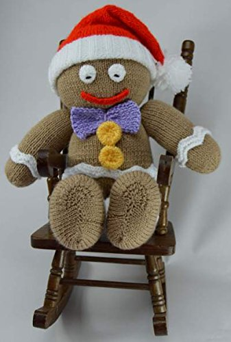 Knitting Pattern for a Gingerbread Man soft toy - hanrattycraftsgifts.co.uk
