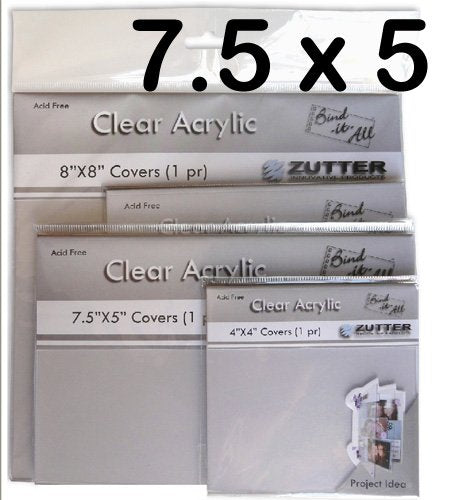 Zutter 2792 7-1/2 by 5-Inch Clear Acrylic Cover Pair by Zutter Innovative Products - hanrattycraftsgifts.co.uk