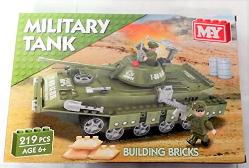 Armoured Military Tank Model Building Kit MY Bricks 219 piece Construction Set - hanrattycraftsgifts.co.uk