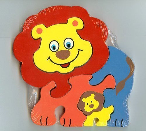 Traditional Wood'n'Fun: Baby/Toodler Wooden Colourful Lion & Cub Jigsaw/Puzzle - hanrattycraftsgifts.co.uk