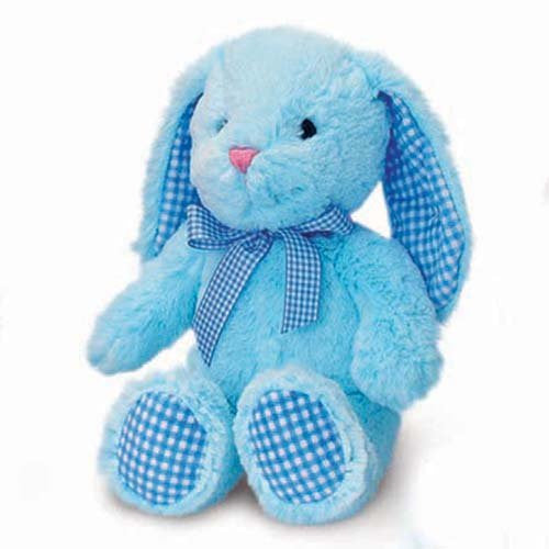Baby Blue Gorgeous All Blue Bunny Rabbit With Gingham Detailing - Size 25cm - hanrattycraftsgifts.co.uk