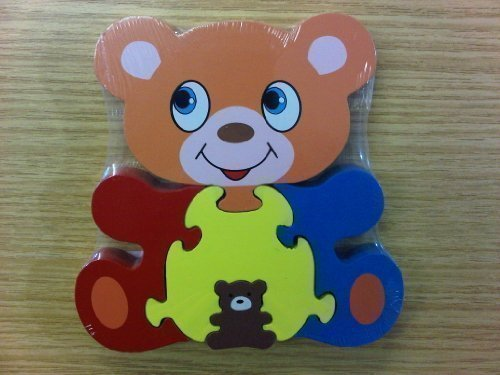 Childrens Kids Wooden Zoo Shape Puzzle Jigsaw Bear & Baby - hanrattycraftsgifts.co.uk